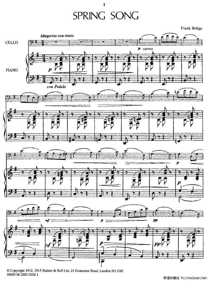 SPRING SONG 春之歌 大提琴 钢琴