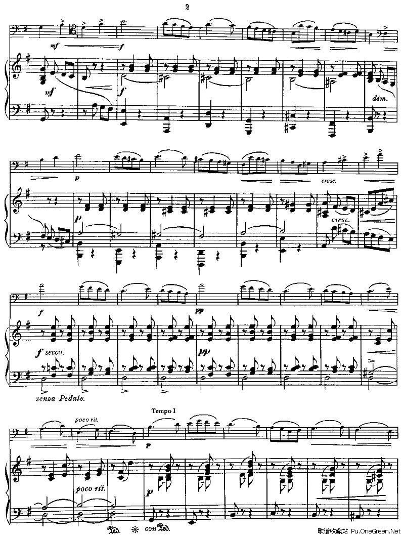 spring song(春之歌)(大提琴 钢琴)_佚名_歌谱收藏站