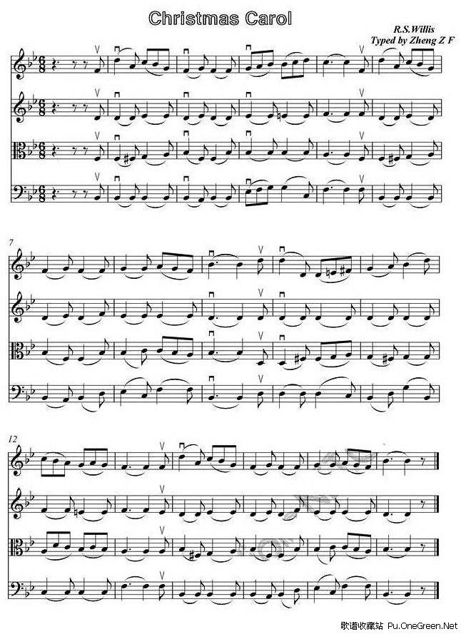 平安夜唱谱-圣诞合唱 四重奏谱小提琴谱
