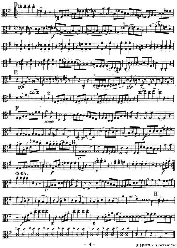 小夜曲(弦乐四重奏之中提琴分谱)_佚名_提琴乐谱_歌谱