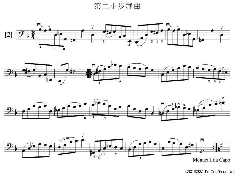 第二小步舞曲(大提琴谱)
