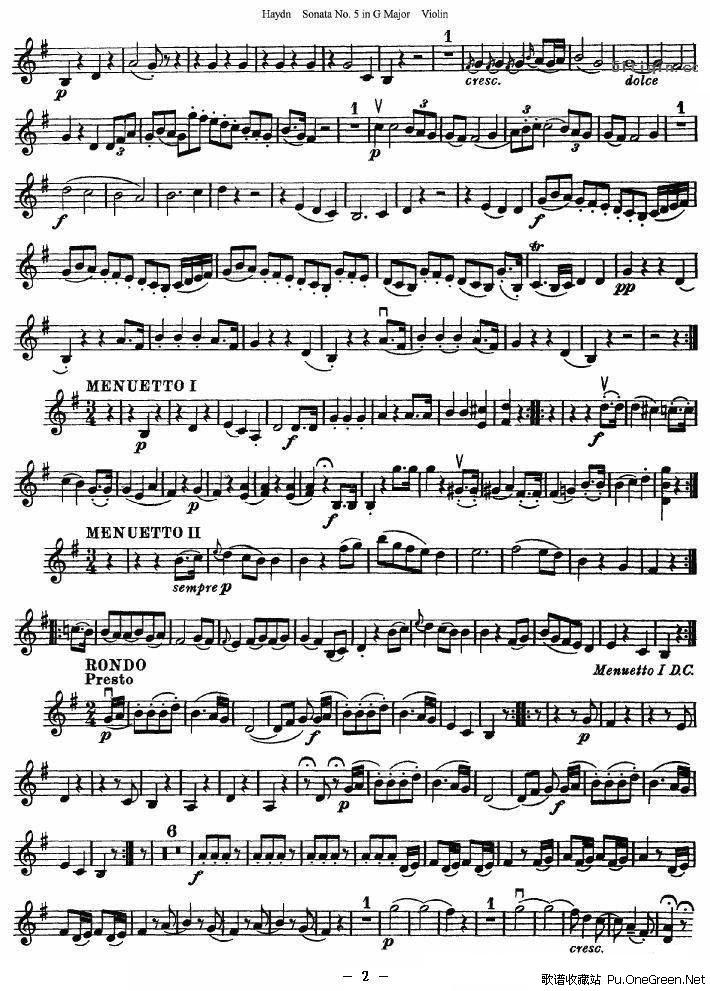 海顿G大调第五小提琴奏鸣曲