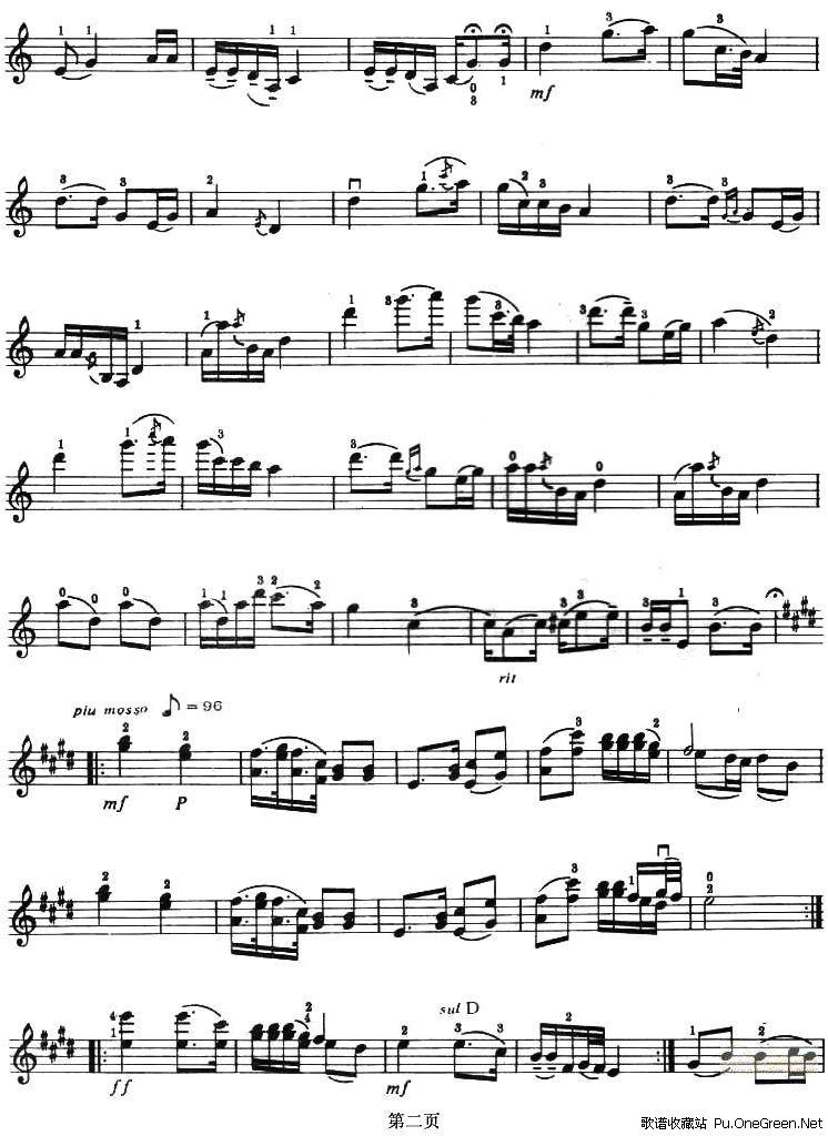 思乡曲 小提琴谱