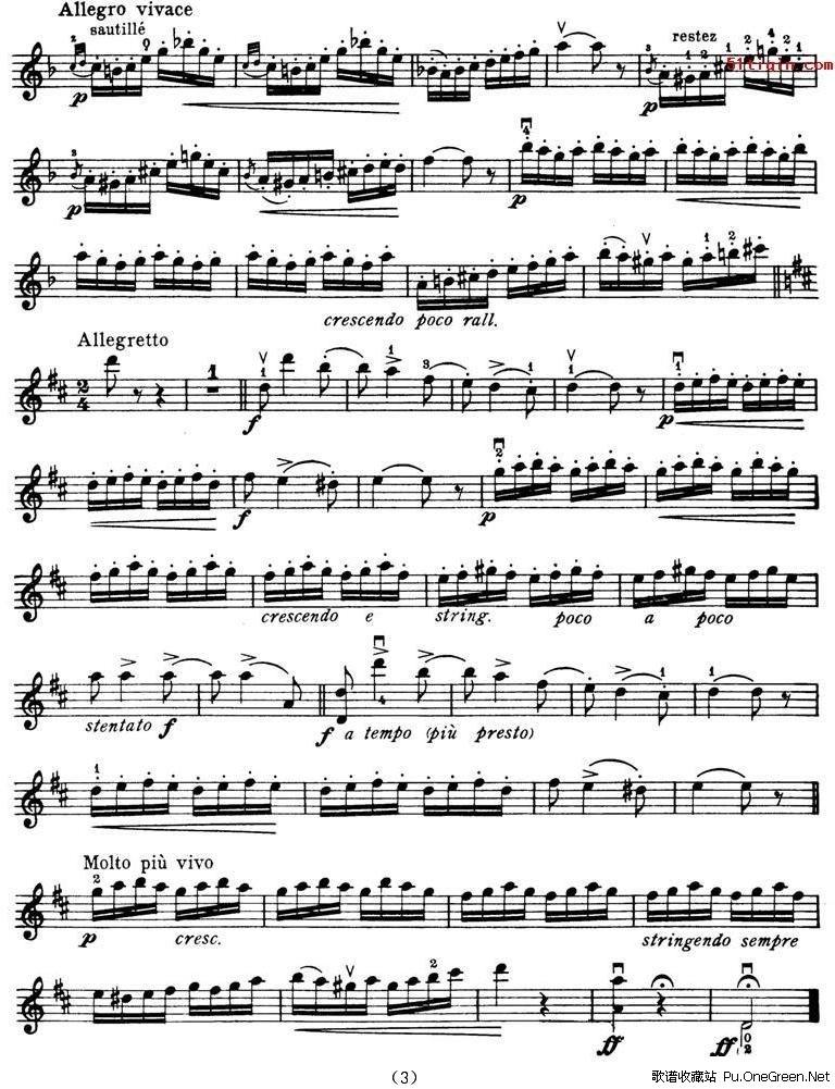 查尔达斯舞曲 小提琴谱 佚名 歌谱收藏站 -查尔达斯舞曲 小提琴谱