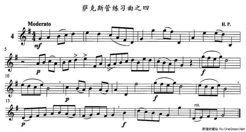 中国军魂(四重奏); 萨克斯四重奏简谱; 萨克斯管练习曲(1—10)_佚名