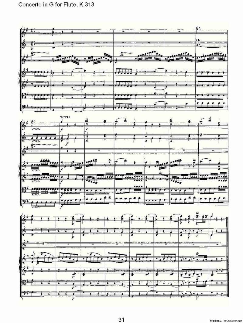 竖笛曲谱g调- K.313 G调长笛协奏曲, K.313
