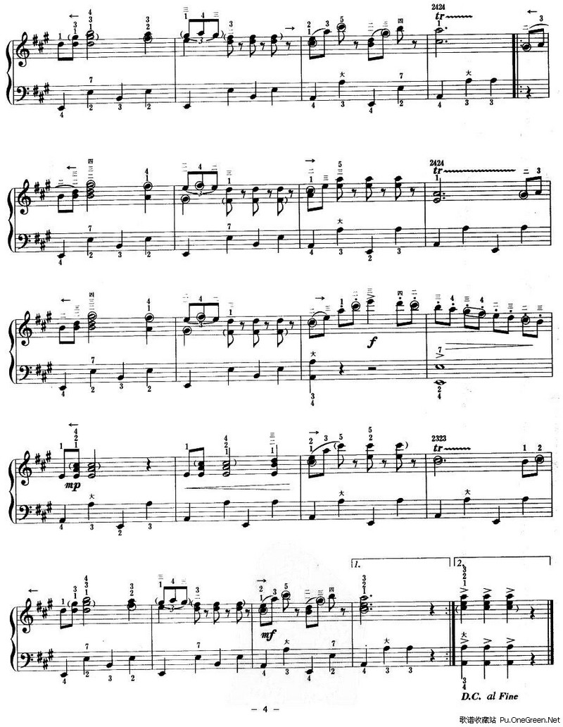 手风琴 谱 歌谱 收藏站