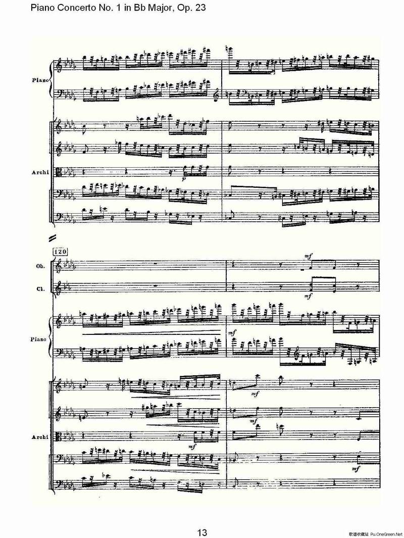 Bb大调第一钢琴协奏曲,Op.23第三乐章 一图片