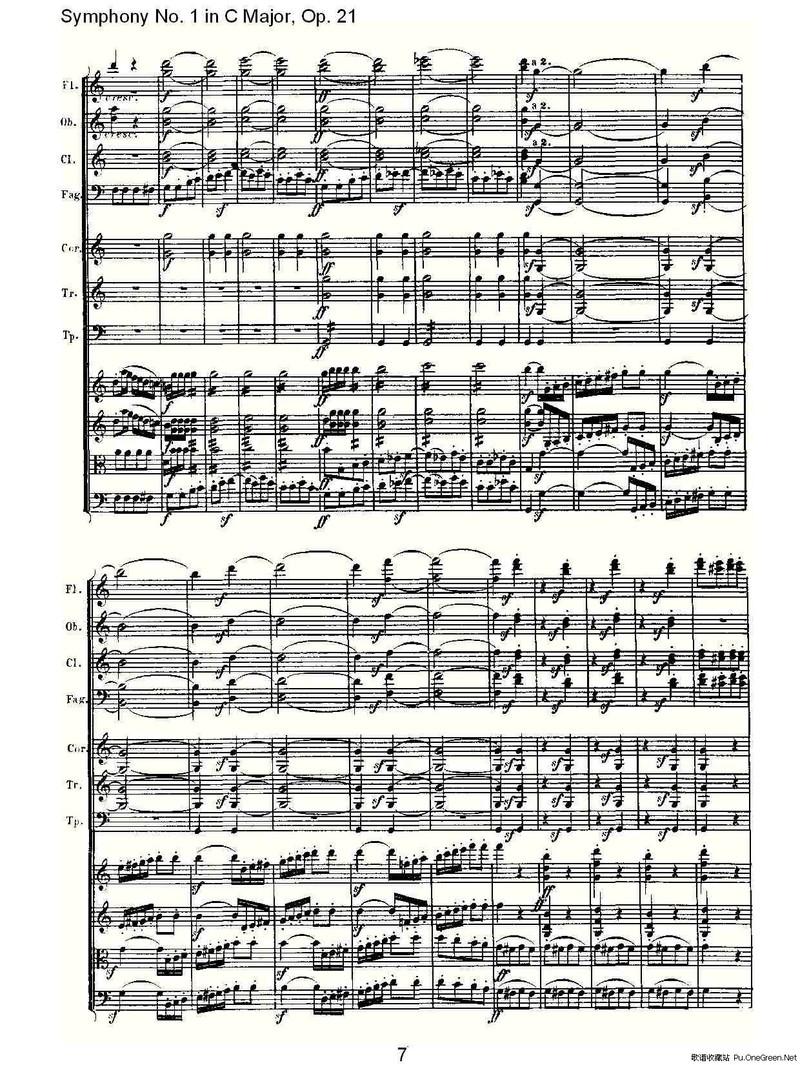 欢乐的泼水节曲谱-Symphony No. 1 in C Major, Op. 21 C大调第一交响