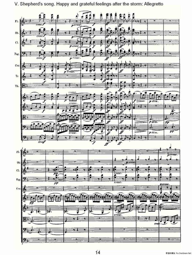 摇篮曲交响乐谱子-F大调第六交响曲 Op.68第五乐章 一