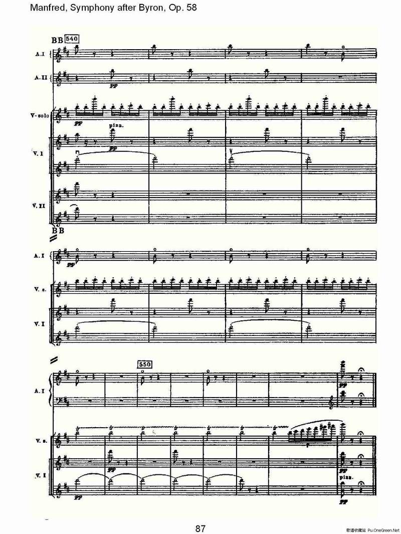 摇篮曲交响乐谱子-nfred, Symphony after Byron, Op.58第二乐章 三