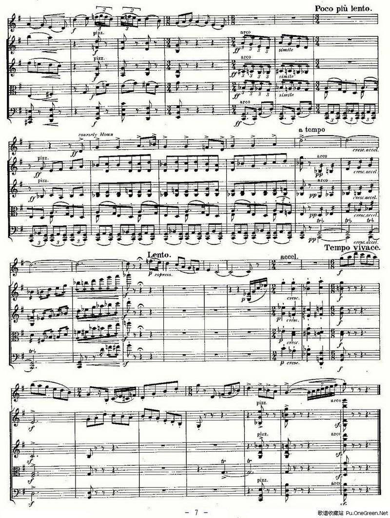 双簧管 弦乐五重奏第三乐章 总谱