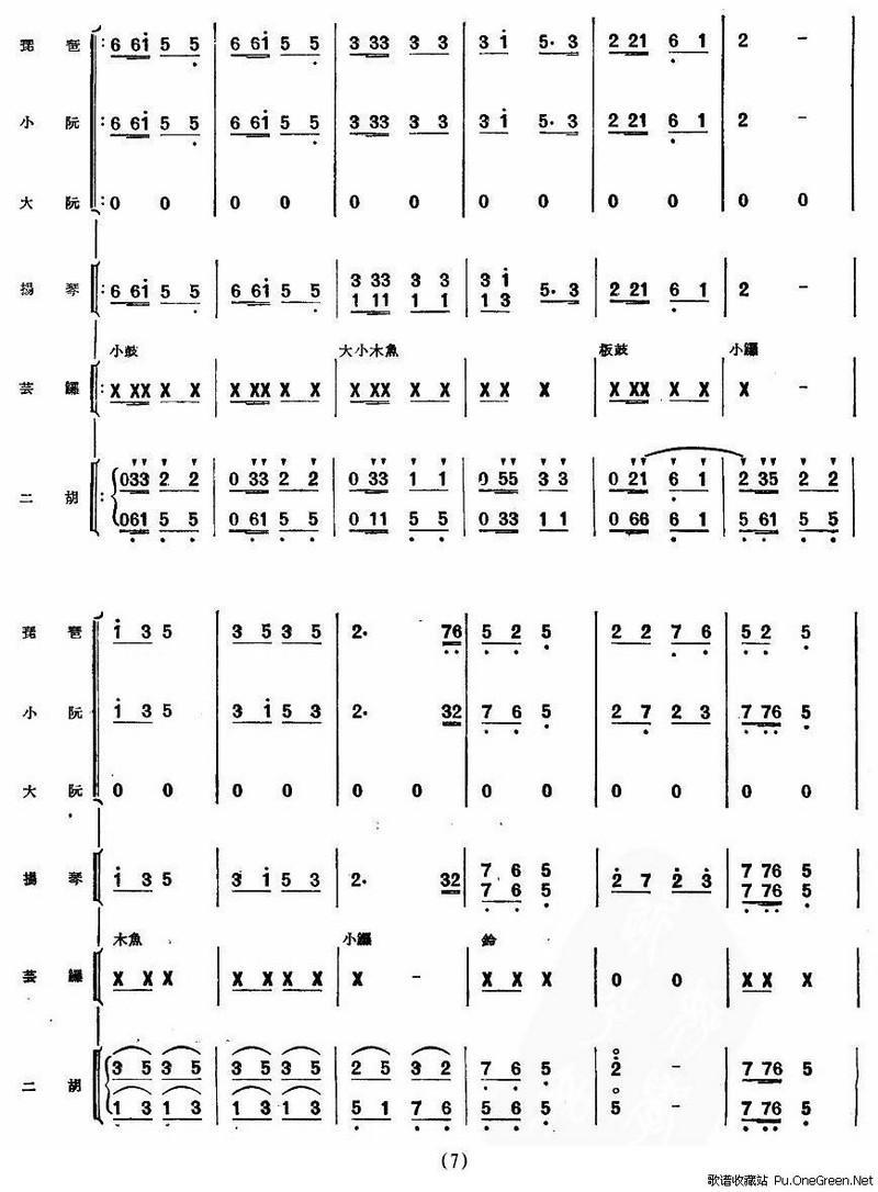 锣鼓乐谱民乐合奏总谱简谱-锣鼓乐谱