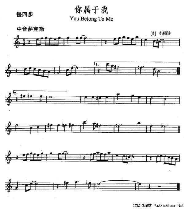 你有我伴奏乐谱