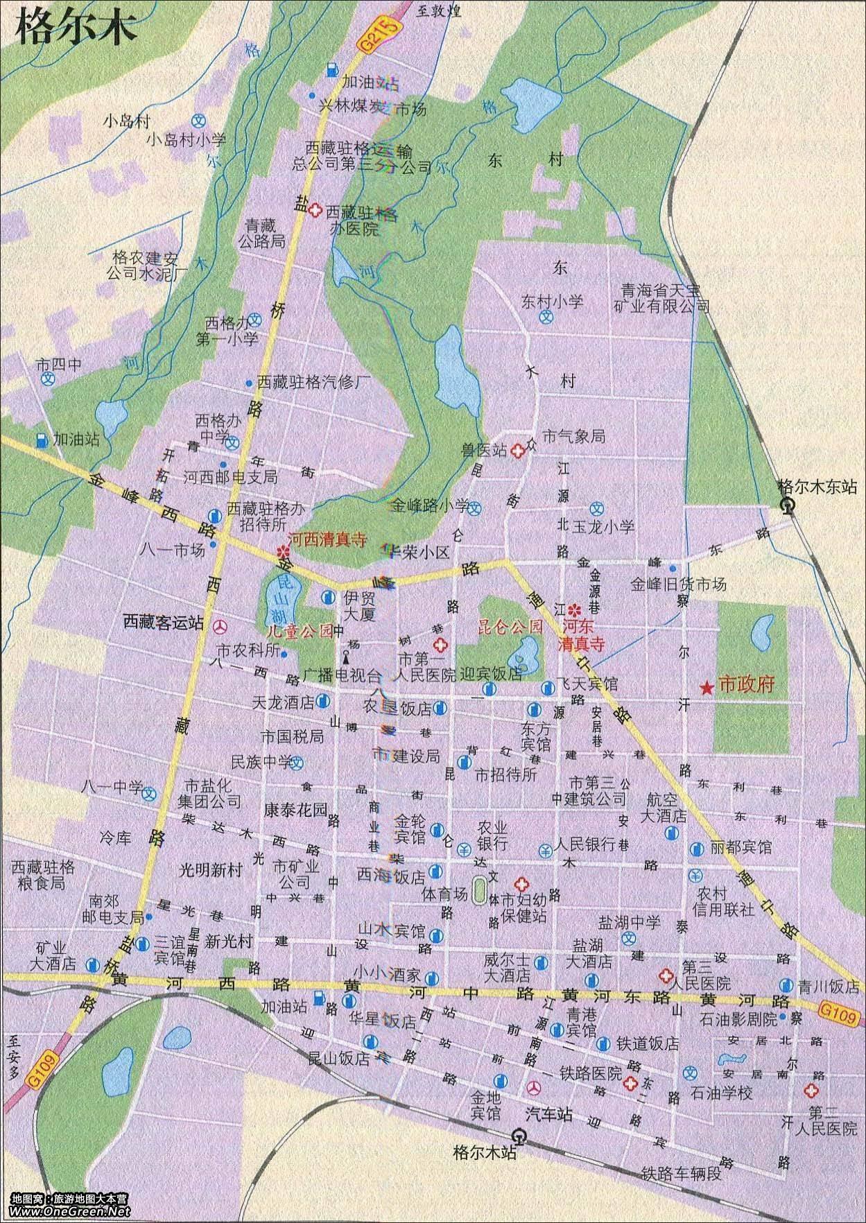 青海格尔木地图_青海格尔木景点导游图_地图窝