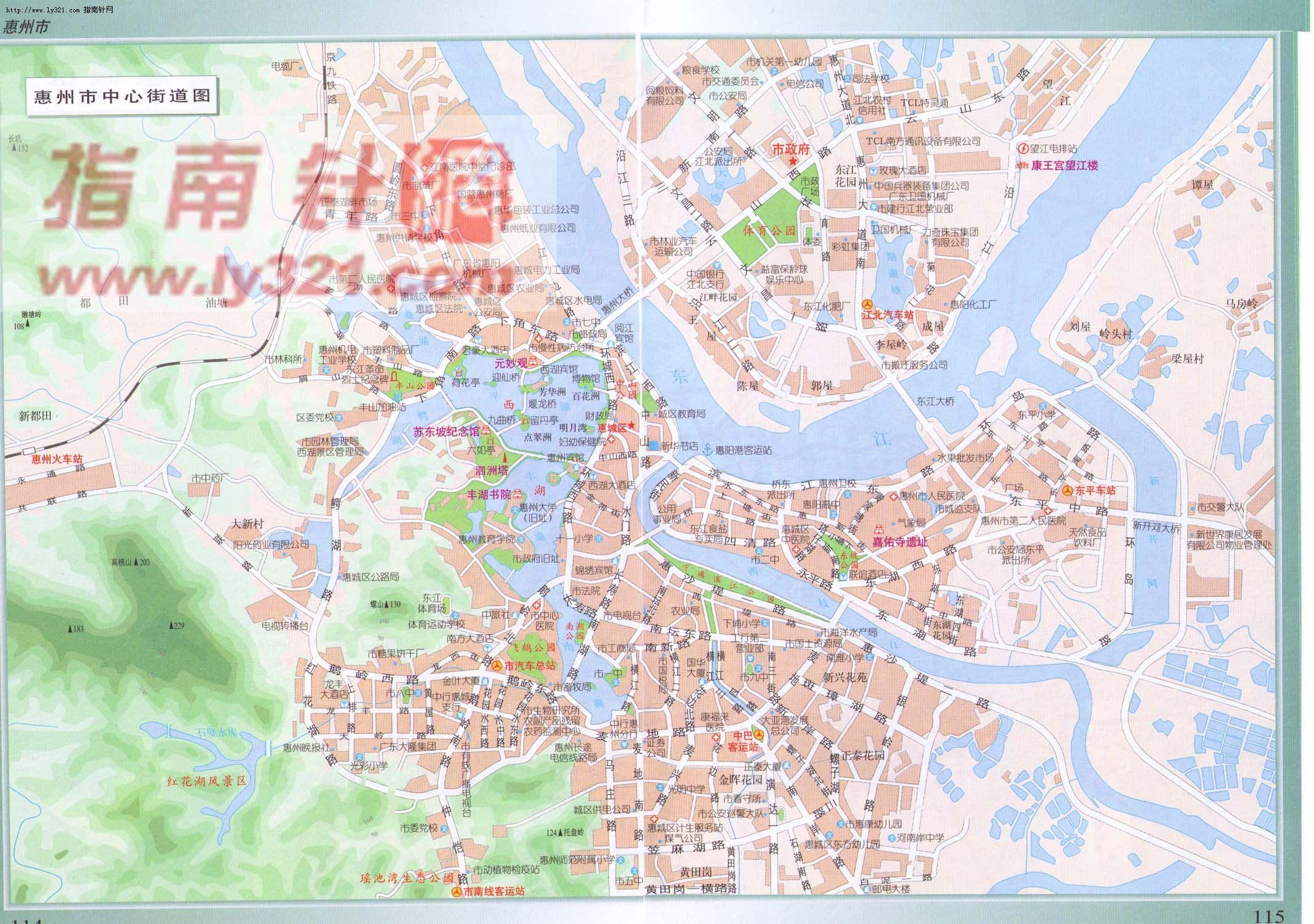 地图 惠州市/广东省惠州市中心街道地图