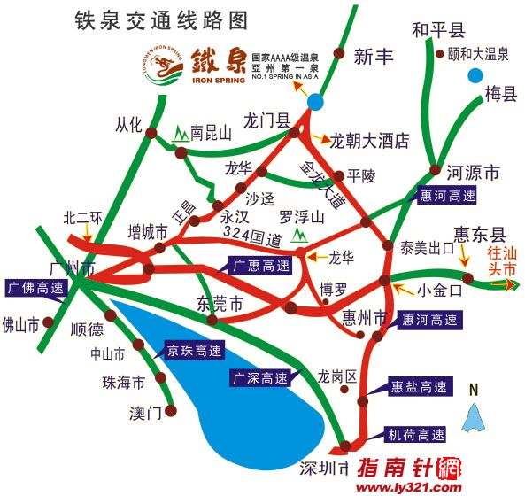 惠州/广东惠州铁泉旅游度假区交通地图