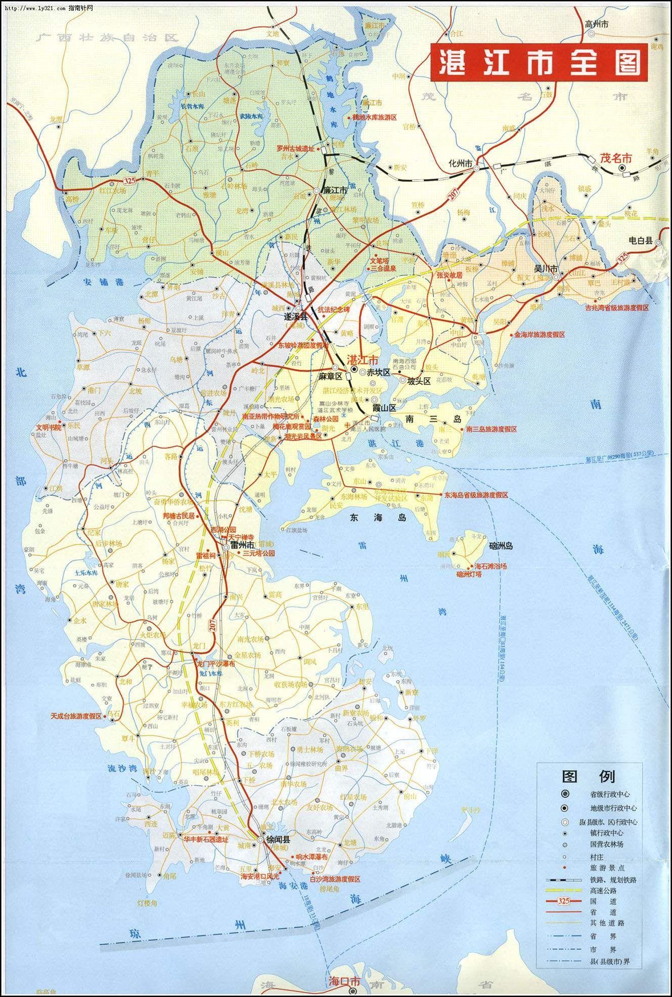 湛江市全图_湛江市旅游景点地图查询