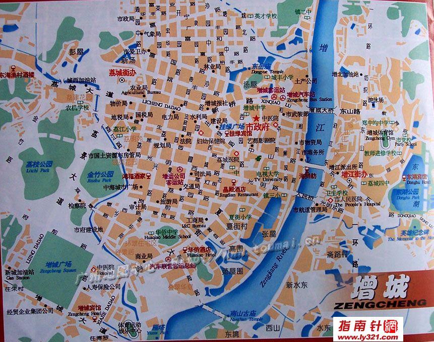 广州增城市区地图_广州市旅游景点地图查询