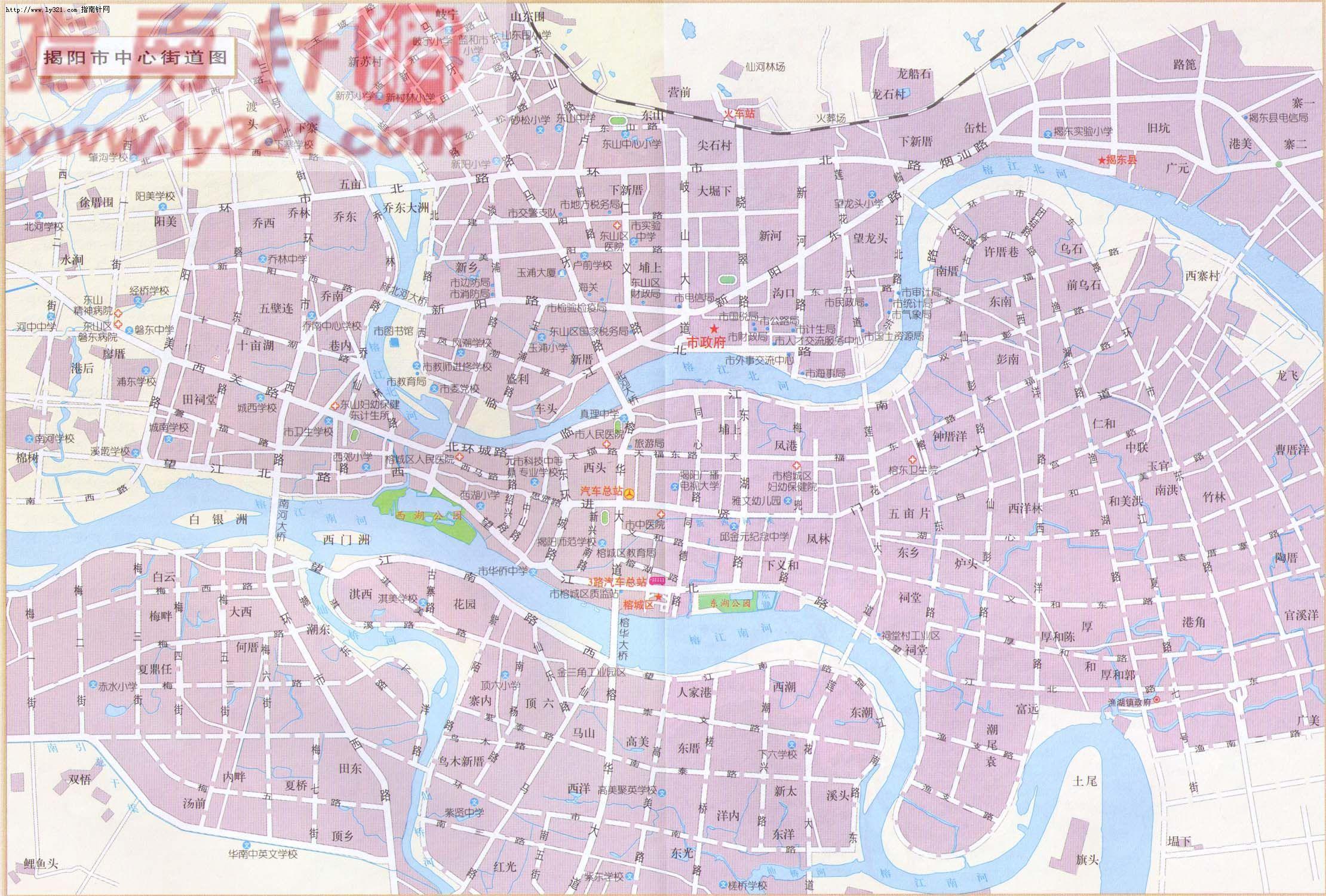 广东省揭阳市中心街道地图_揭阳市旅游景点地图查询