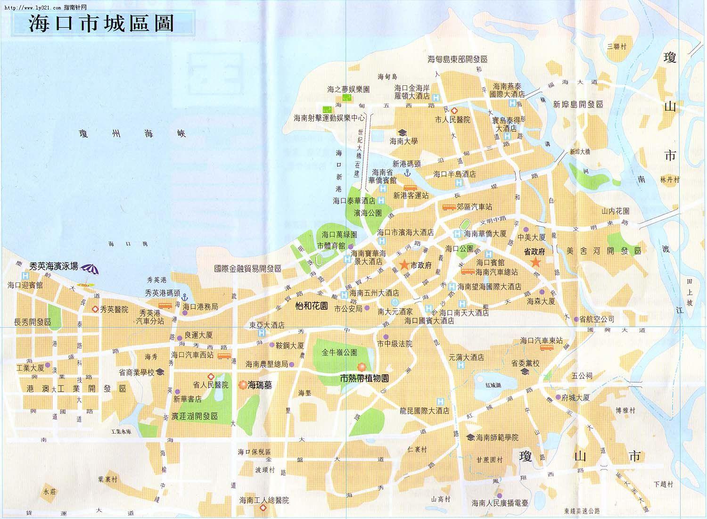 海口市区地图 海口市旅游景点地图查询 高清图片