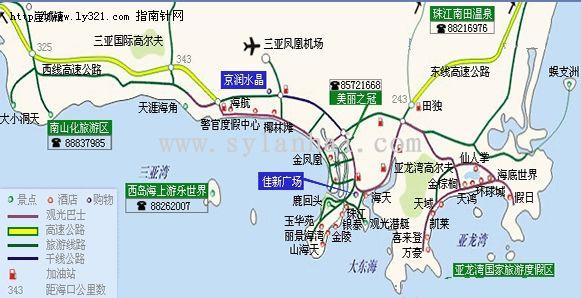 三亚旅游示意地图_三亚市旅游景点地图查询