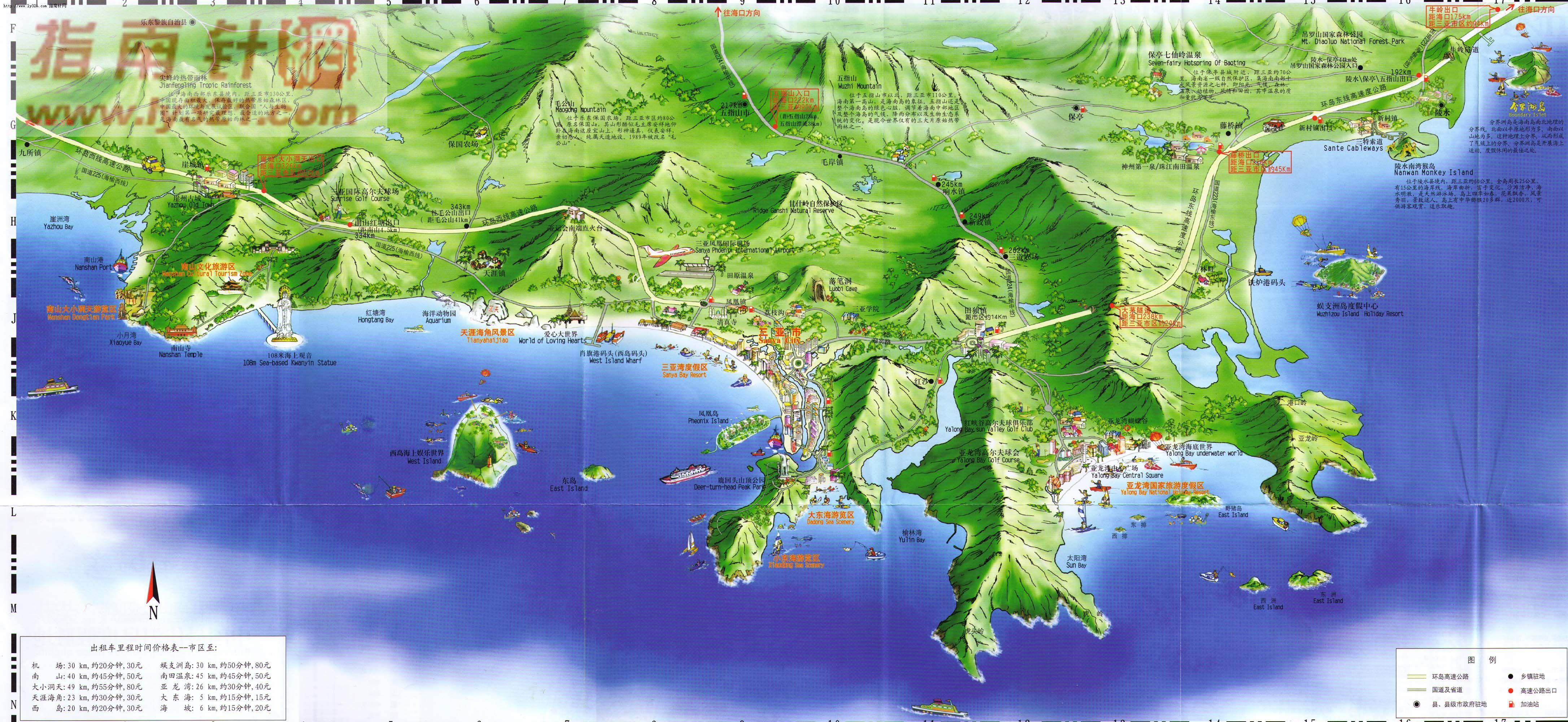 三亚地区旅游地图_三亚市地图查询