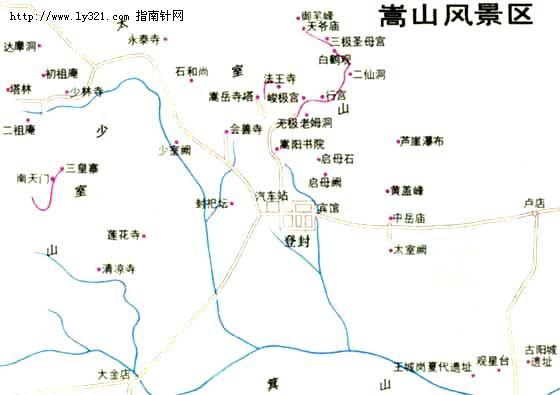 河南登封少林寺导游地图_郑州市旅游景点地图