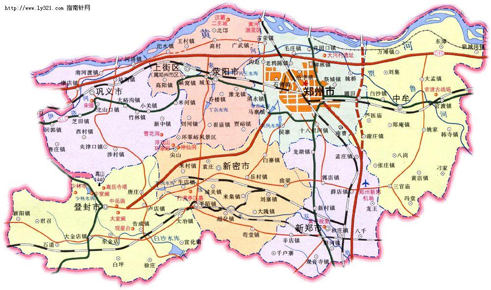 郑州政区地图_郑州地图库