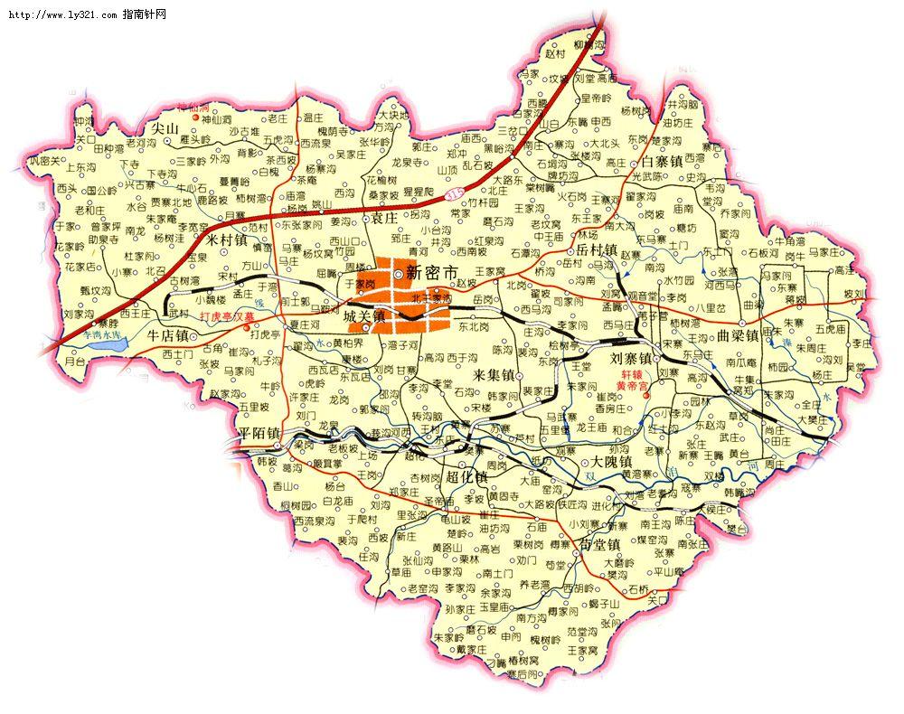 河南郑州新密市地图
