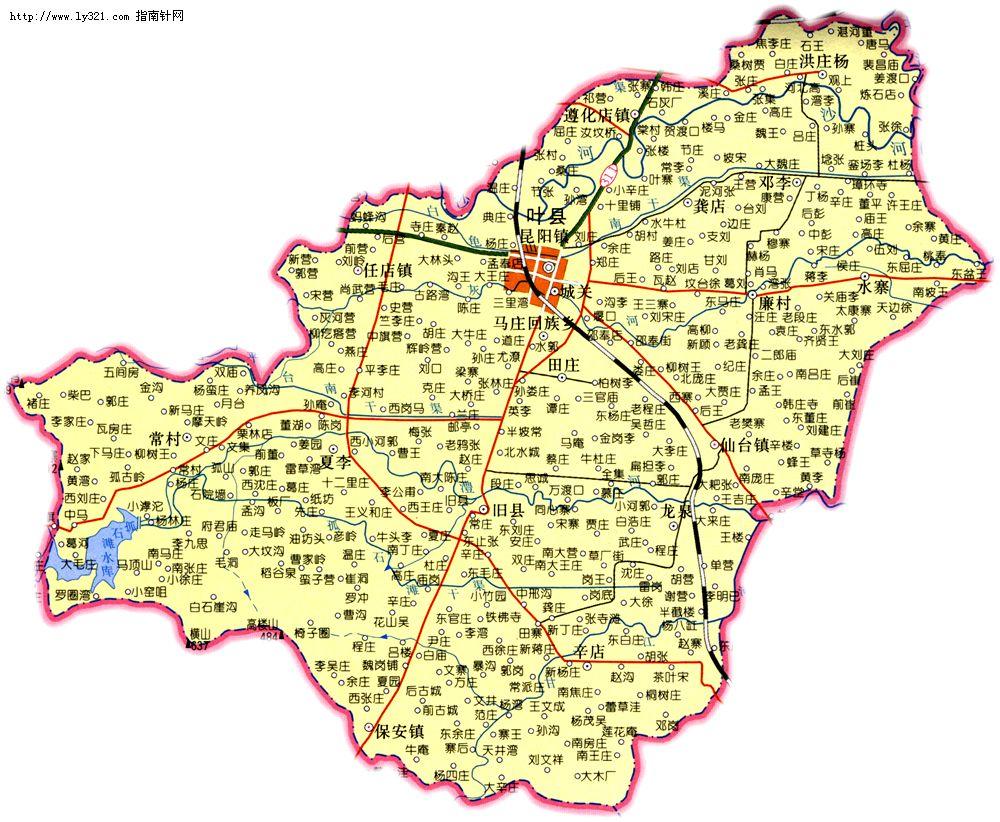 河南平顶山叶县地图