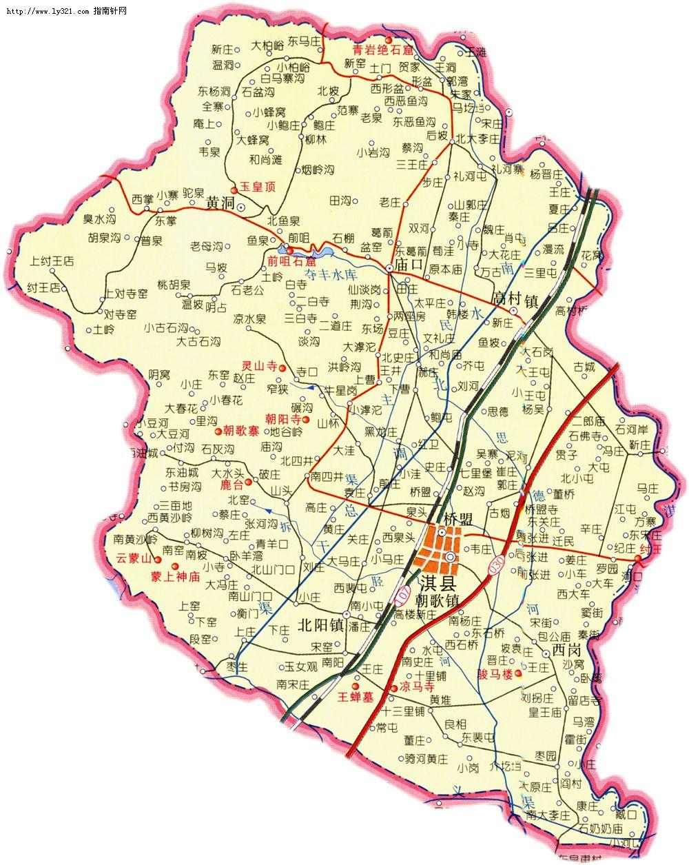 河南鹤壁淇县地图_鹤壁市旅游景点地图查询