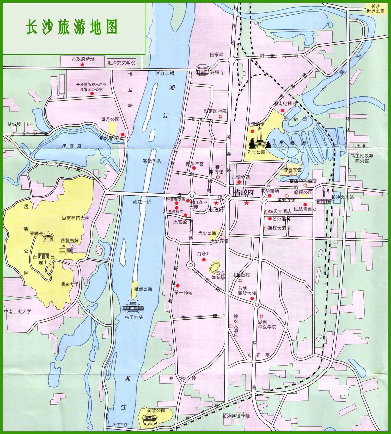 湖南长沙市区旅游地图_长沙市旅游景点地图查询