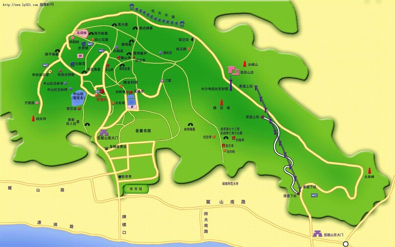 湖南长沙岳麓山旅游地图_长沙市旅游景点地图查询