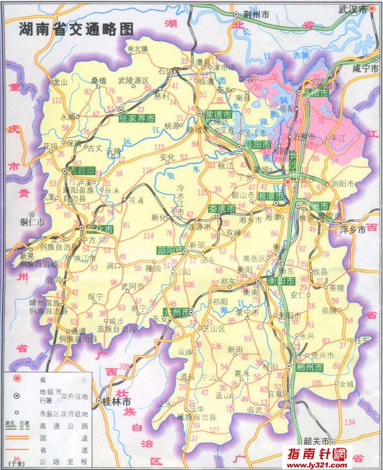 湖南省交通略图_湖南其他旅游景点地图查询