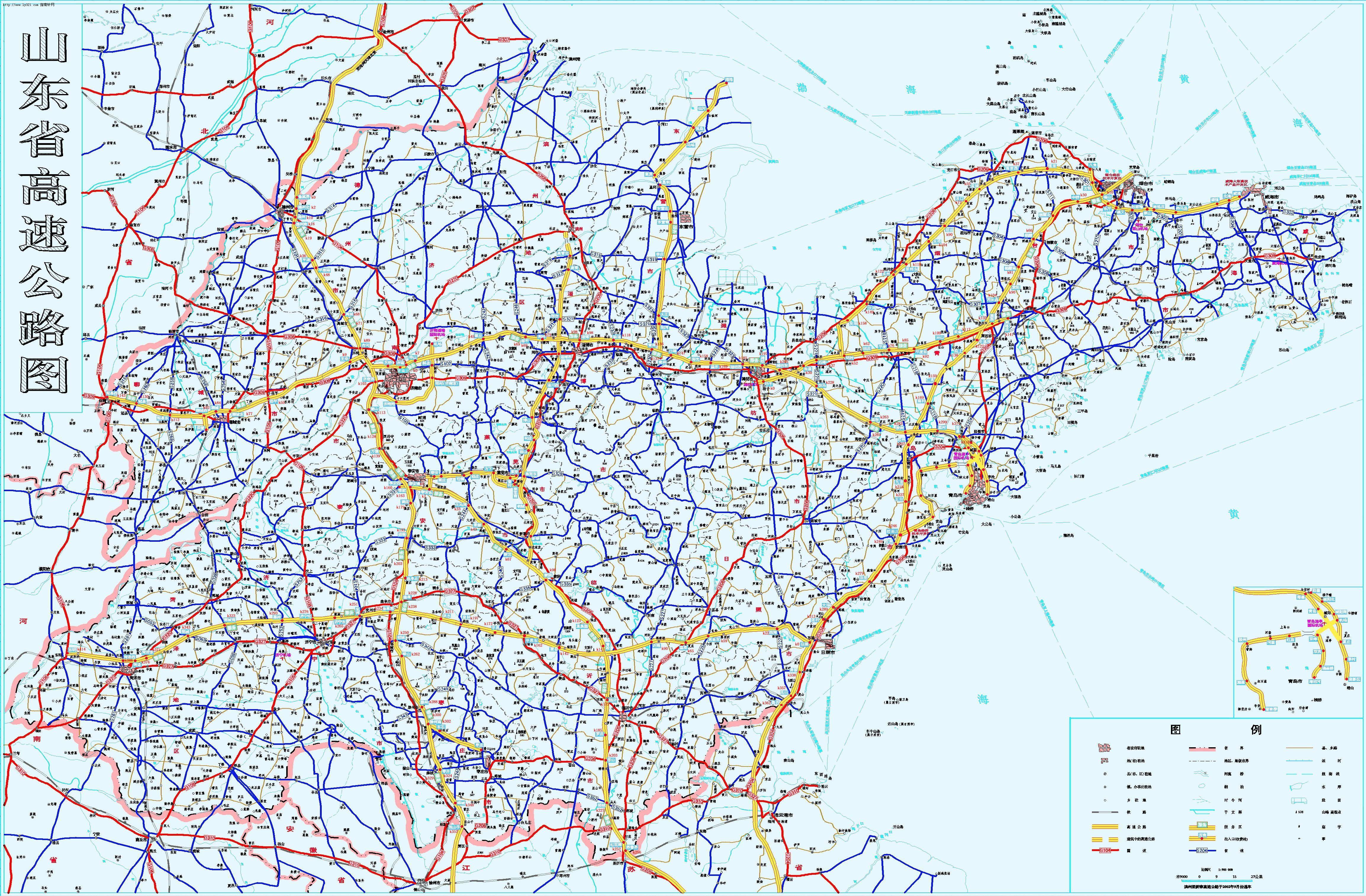 山东省高速公路图 山东地图查询