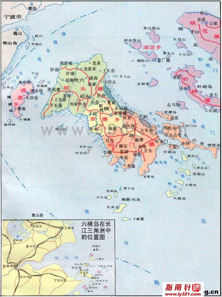 浙江舟山六横岛旅游地图