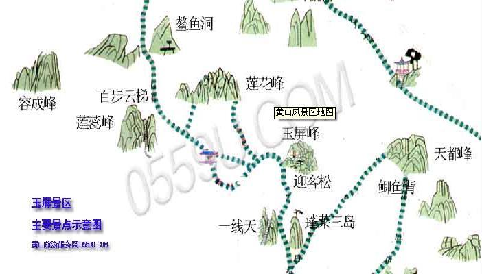 安徽黄山玉屏景区地图