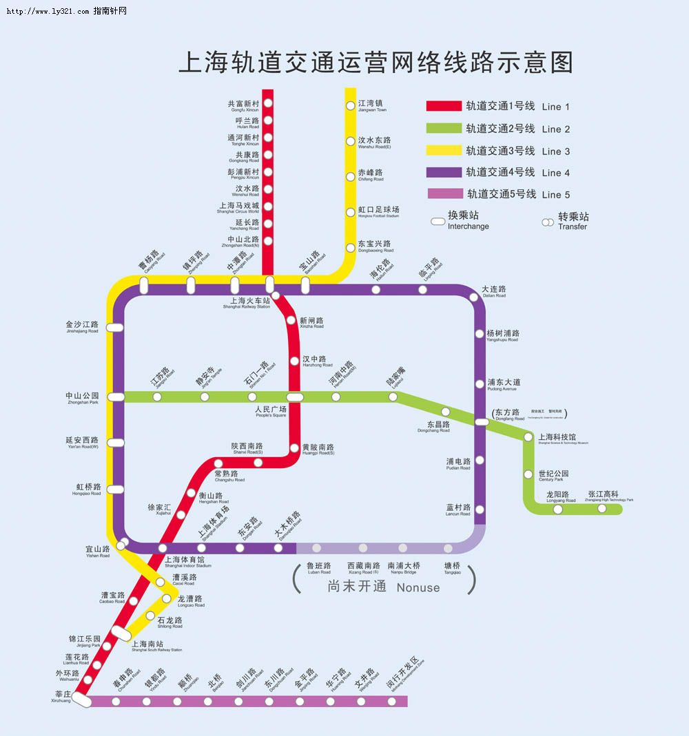 上海地铁轻轨线路地图