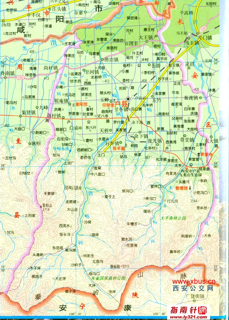 陕西西安户县交通地图