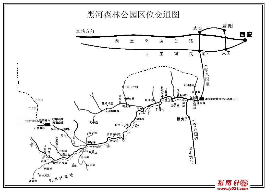 陕西黑河森林公园地图