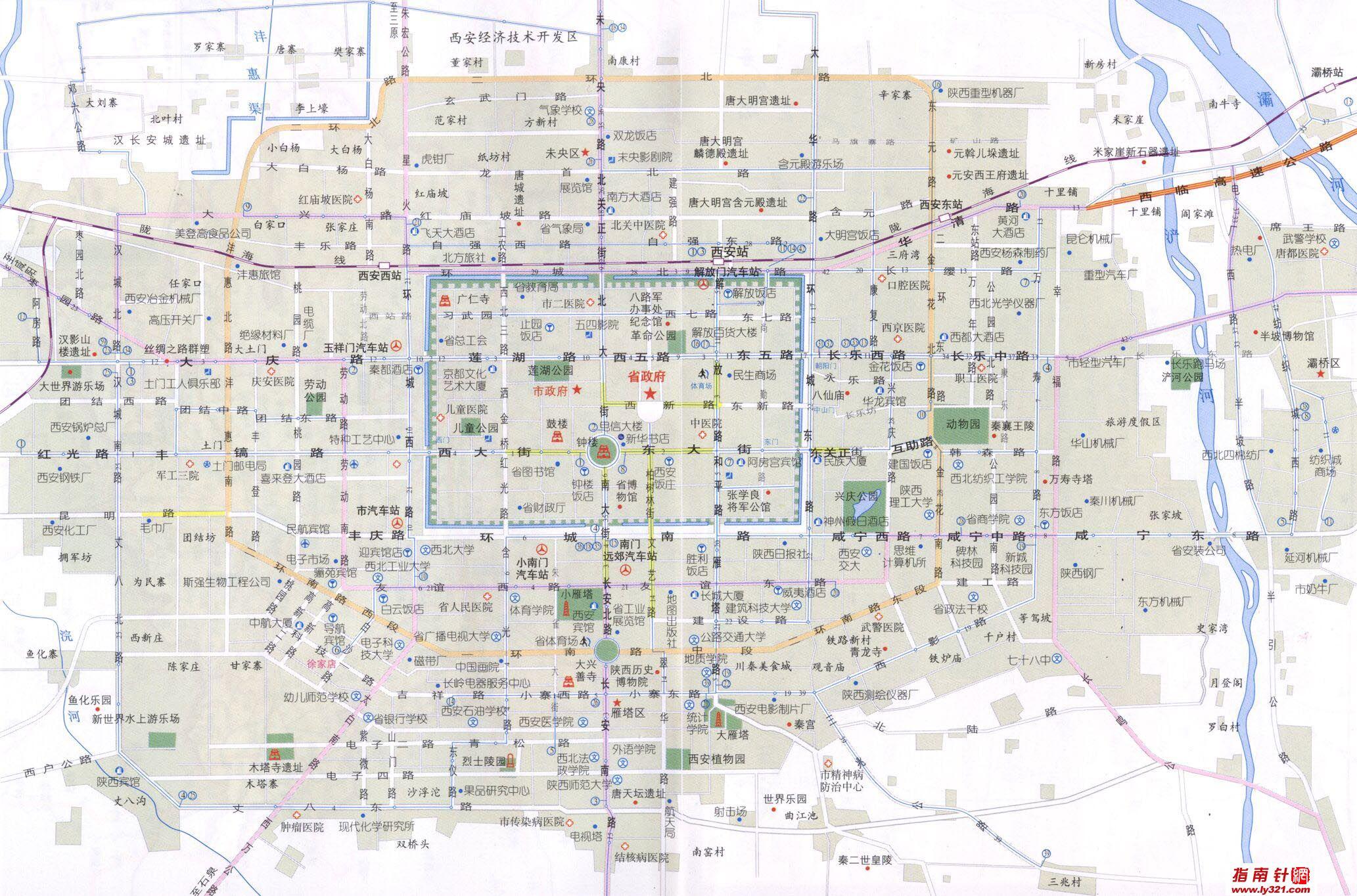 西安市旅游景点地图_