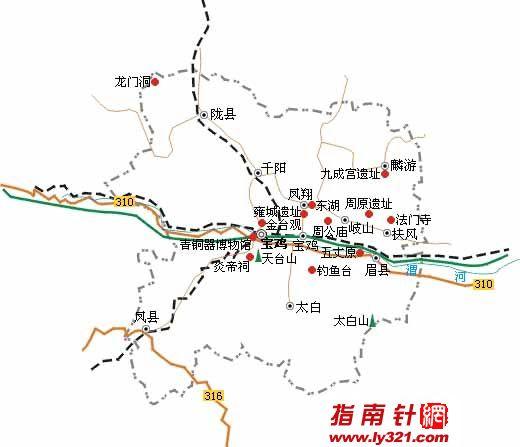 陕西宝鸡旅游地图_宝鸡市地图查询