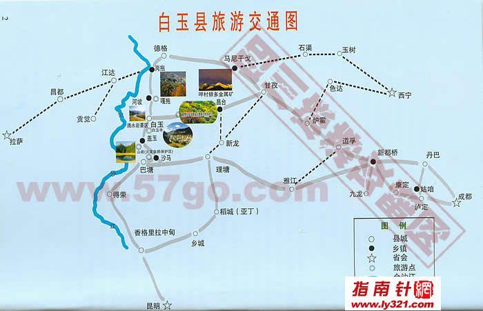 四川甘孜白玉县旅游交通地图_甘孜州地图查询