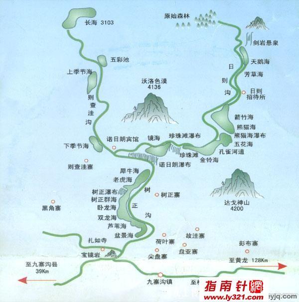 四川九寨沟景区地图_阿坝旅游景点地图查询