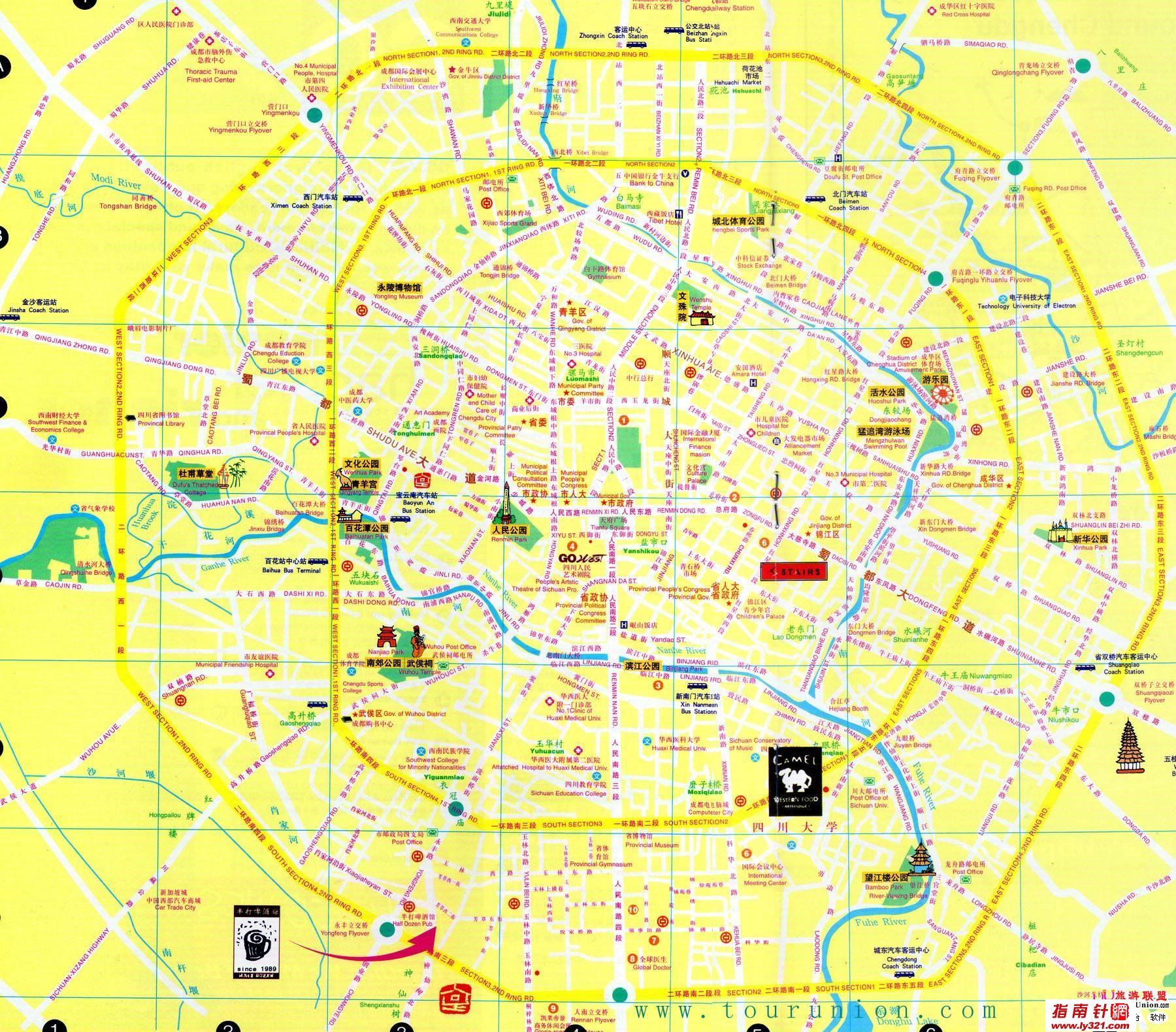 四川成都中英文地图图片