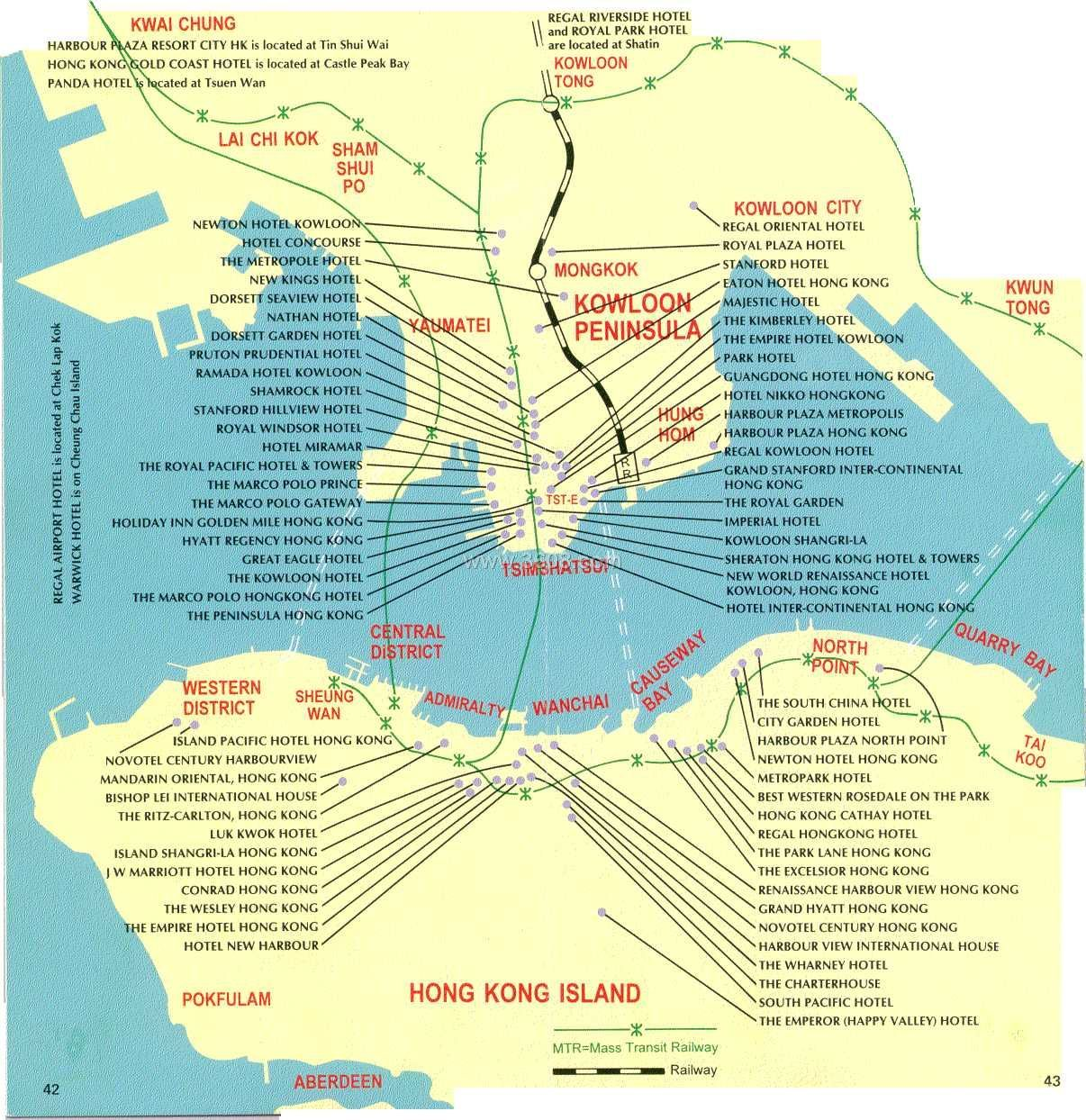 香港酒店分布图(英文)