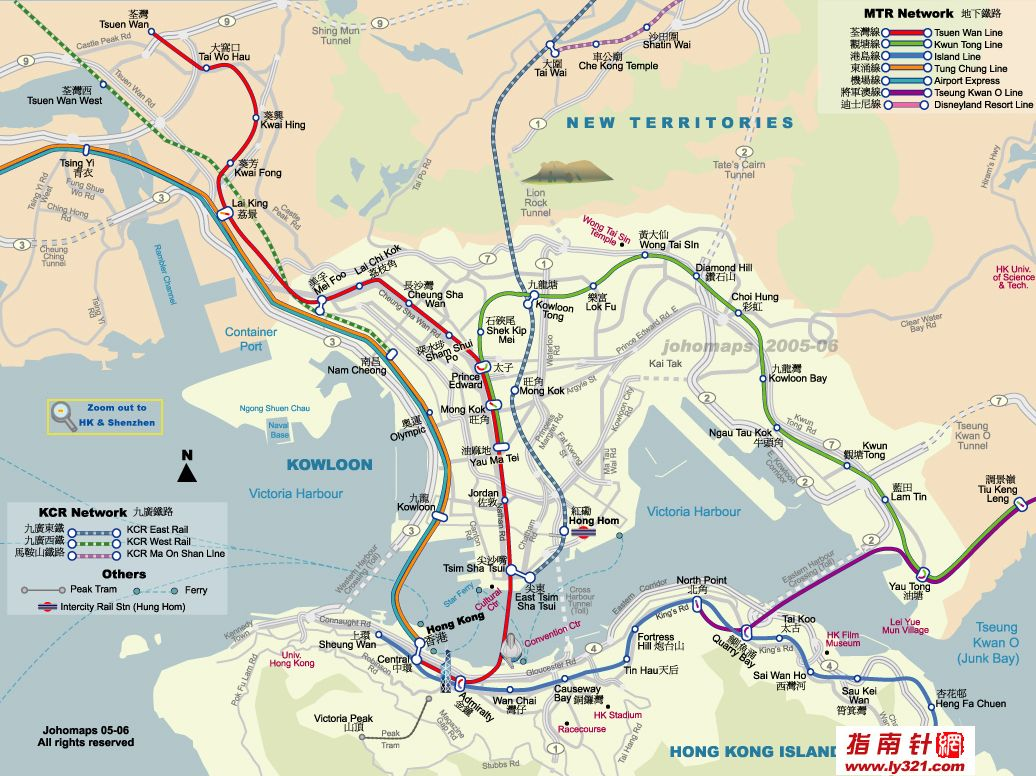 香港陆地至九龙交通地图