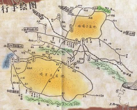 新疆旅行手绘图_新疆其他旅游景点地图查询