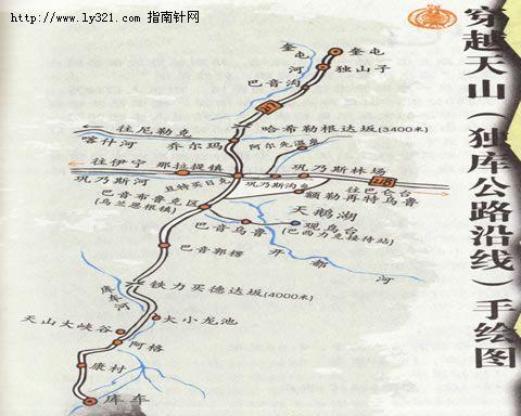 新疆独库公路沿线地图
